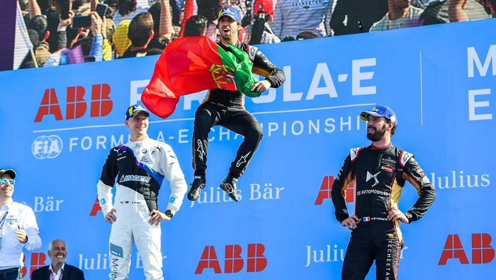 CIRCUIT INTERNATIONAL AUTOMOBILE MOULAY EL HASSAN MARRAKESH, MOROCCO - FEBRUARY 29: Antonio Felix da Costa (PRT), DS Techeetah, DS E-Tense FE20, 1st position, Maximilian Günther (DEU), BMW I Andretti Motorsports, 2nd position, and Jean-Eric Vergne (FRA), DS Techeetah, DS E-Tense FE20, 3rd position during the Marrakesh E-prix at Circuit International Automobile Moulay El Hassan Marrakesh on February 29, 2020 in Circuit International Automobile Moulay El Hassan Marrakesh, Morocco. (Photo by Simon Galloway / LAT Images)